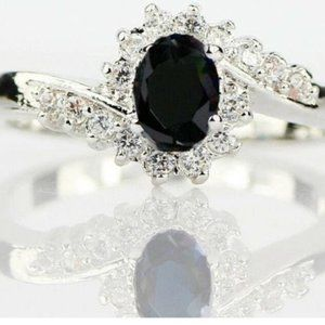 Black Oval Ring Woman Size 7